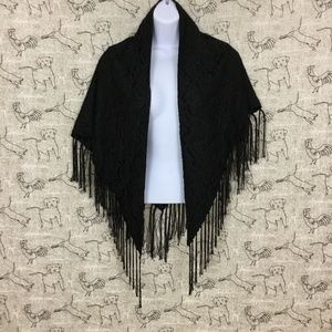 Other - Black lined lace vintage shawl